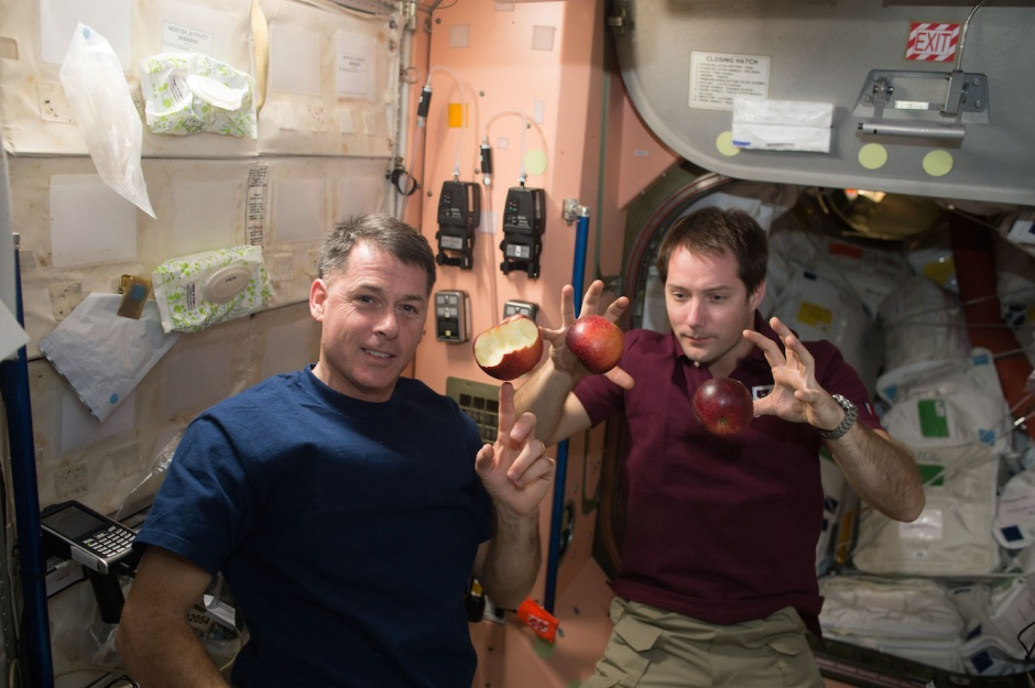 expedition-50-crewmembers-shane-kimbrough-of-nasa-left-and-thomas-pesquet-of-esa-european-space-agency-right-share-fresh-fruit